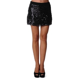 Sara Boo Women's Black Sequined Mini Skirt