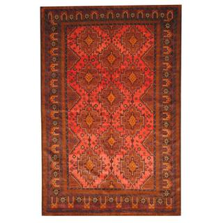 Herat Oriental Semi-antique Afghan hand-knotted Tribal Balouchi Peach/ Brown Wool Rug (7' x 11')