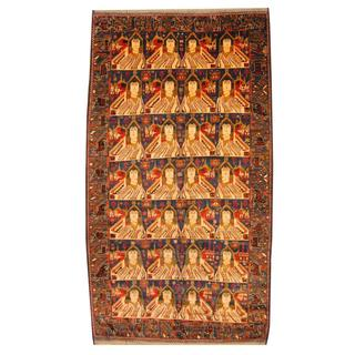 Herat Oriental Semi-antique Afghan Hand-knotted Tribal Balouchi Navy/ Beige Wool Rug (7' x 12'11)