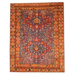Herat Oriental Semi-antique Afghan Hand-knotted Tribal Balouchi Navy/ Red Wool Rug (9'6 x 12'6)