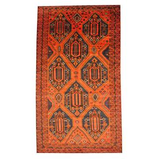 Herat Oriental Semi-antique Afghan Hand-knotted Tribal Balouchi Rust/ Navy Wool Rug (7'9 x 13'8)