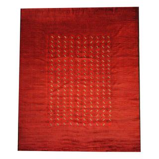 Herat Oriental Semi-antique Afghan Hand-knotted Tribal Balouchi Red/ Black Wool Rug (10'2 x 12'4)