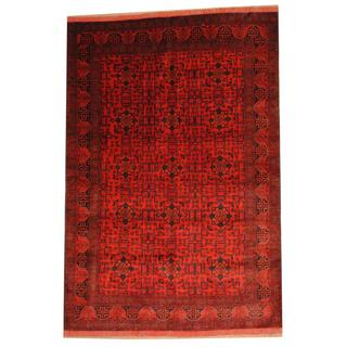 Herat Oriental Afghan Hand-knotted Tribal Khal Mohammadi Red/ Black Wool Rug (6'8 x 9'10)