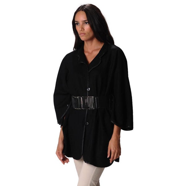 Sara Boo Women's Black Oversized Belted Coat