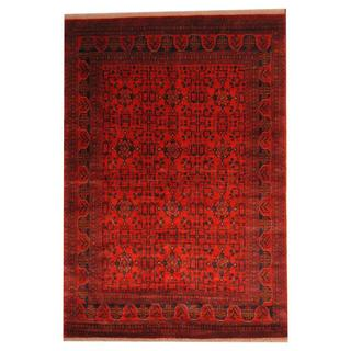 Herat Oriental Afghan Hand-knotted Tribal Khal Mohammadi Red/ Ivory Wool Rug (6'8 x 9'7)