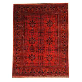 Herat Oriental Afghan Hand-knotted Tribal Khal Mohammadi Red/ Black Wool Rug (5'8 x 7'3)