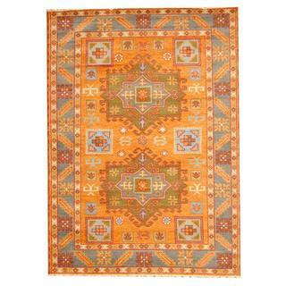 Herat Oriental Indo Hand-knotted Tribal Kazak Orange/ Blue Wool Rug (5'9 x 8')