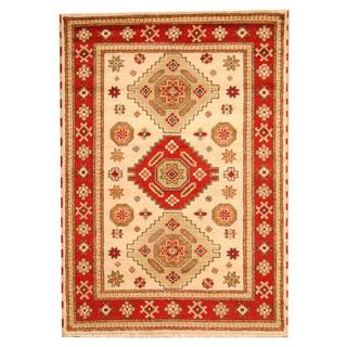 Herat Oriental Indo Hand-knotted Tribal Kazak Beige/ Red Wool Rug (5'9 x 8'1)