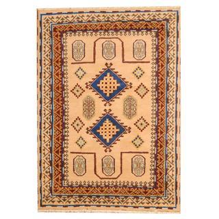 Herat Oriental Indo Hand-knotted Tribal Kazak Beige/ Blue Wool Rug (5'8 x 7'10)