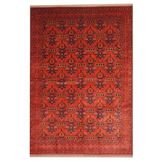Herat Oriental Afghan Hand-knotted Tribal Khal Mohammadi Red/ Navy Wool Rug (6'9 x 9'8)