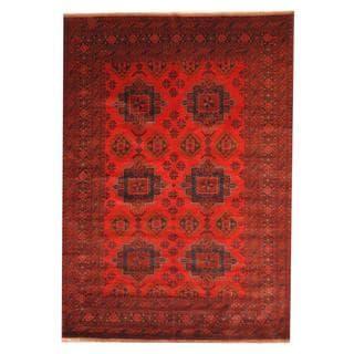 Herat Oriental Afghan Hand-knotted Tribal Khal Mohammadi Red/ Black Wool Rug (6'8 x 9'6)