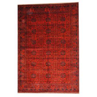 Herat Oriental Afghan Hand-knotted Tribal Khal Mohammadi Red/ Black Wool Rug (6'9 x9'6)