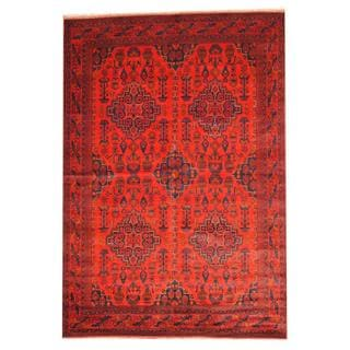 Herat Oriental Afghan Hand-knotted Tribal Khal Mohammadi Red/ Navy Wool Rug (6'8 x 9'8)