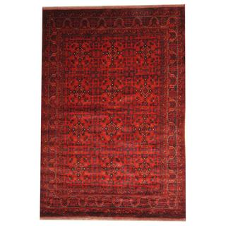 Herat Oriental Afghan Hand-knotted Tribal Khal Mohammadi Red/ Black Wool Rug (6'8 x 9'8)