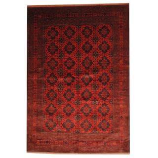 Herat Oriental Afghan Hand-knotted Tribal Khal Mohammadi Red/ Black Wool Rug (6'8 x 9'7)