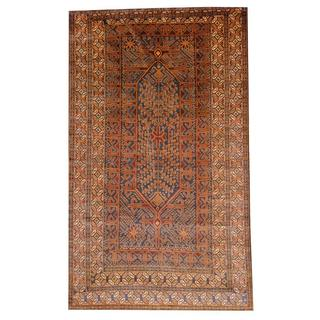 Herat Oriental Semi-antique Afghan Hand-knotted Tribal Balouchi Blue/ Brown Wool Rug (5'8 x 9'7)