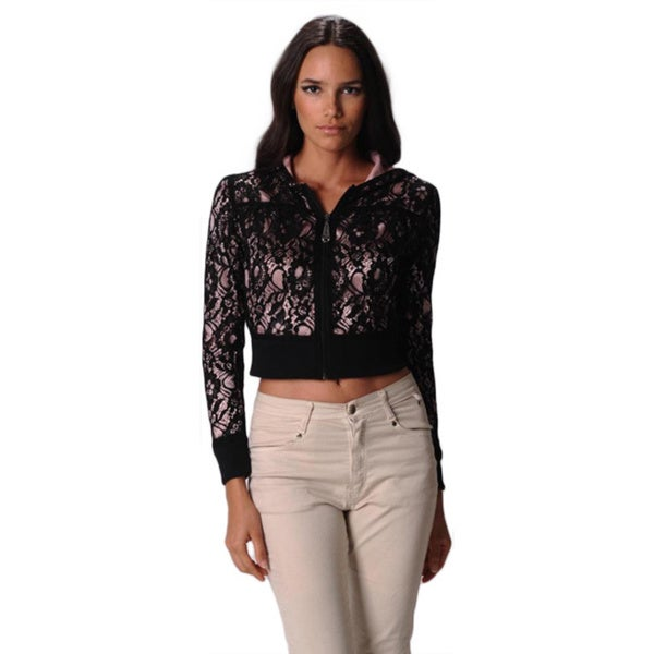 Sara Boo Women's See-through Black Lace Jacket