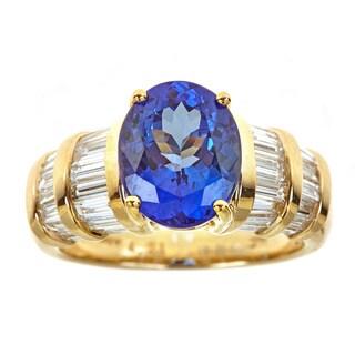 14k Yellow Gold Tanzanite and 1 1/2ct TDW Diamond Ring (H-I, SI1-SI2)