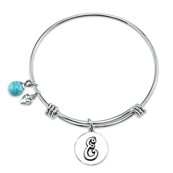 "Shine Stainless Steel ""E"" Turquoise Expandable Bangle"