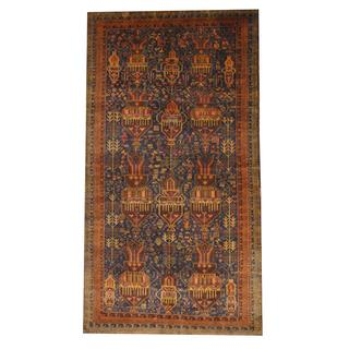Herat Oriental Semi-antique Afghan Hand-knotted Tribal Balouchi Blue/ Brown Wool Rug (7'10 x 10'2)