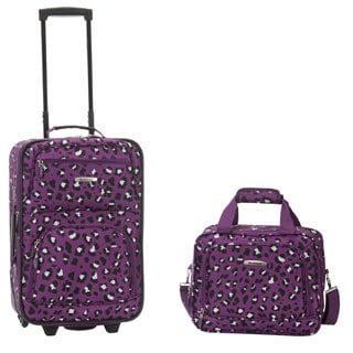 Rockland Purple Leopard 2-Piece Lightweight Carry-on Luggage Set
