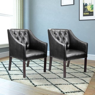 CorLiving Antonio Accent Club Chair in Black Bonded Leather (Set of 2)