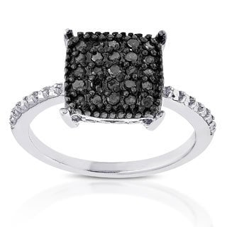 Finesque Sterling Silver 1/4ct TDW Black Diamond Square Ring