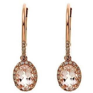 Anika and August D'Yach 10k Rose Gold Morganite 1/5ct TDW Diamond Earrings (G-H, I1-I2)
