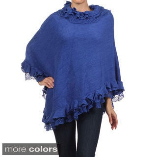 Tabeez Women's Ruffle Collar Poncho
