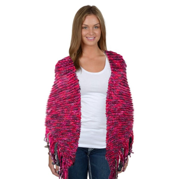 Tabeez Women's Hand-Made, Space Dyed Crochet Poncho Sweater