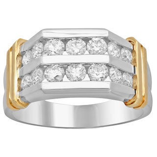 14k Two-Tone Men's 1 3/4ct TDW Diamond Ring (F-G, SI1-SI2)