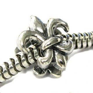 Queenberry Sterling Silver Fleur-de-lis Lily Flower European Bead Charm