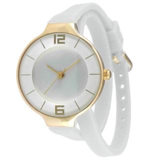 TKO TK645 Women's White Double Wrap Silicon Analog Display Quartz Watch