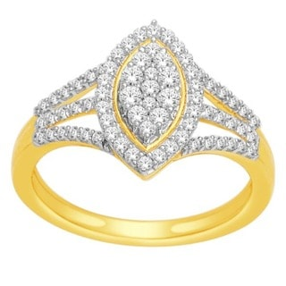 De Couer 10k Yellow Gold 1/2ct TDW Diamond Marquise Shape Ring (H-I, I2)