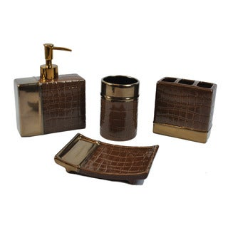 Sherry Kline 'It's A Croc' Cocoa 4-piece Bath Accesory Set