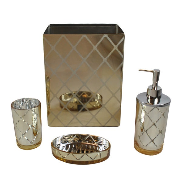 Shiny gold bathroom accessory set mirrored 4 pc bath for Gold bathroom accessories sets