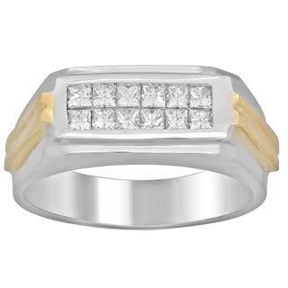 Men's 14k Two-tone 3/4ct TDW Diamond Ring (F-G, SI1-SI2)