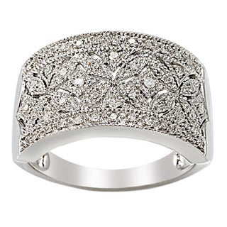 Sterling Silver 1/4ct TDW Diamond Floral Milgrain Ring (H-I, I2-I3)