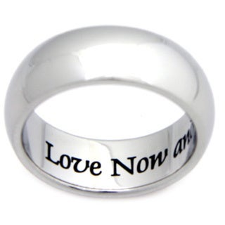 Stainless Steel 'Love Now and Forever' Ring