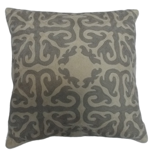 Tile Motif Crewel Embroidered Decorative Throw Pillow