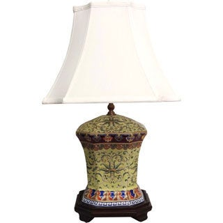 Octagonal Yellow Empress Porcelain Table Lamp