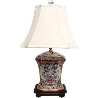 Octagonal Rose Medallion Porcelain Table Lamp