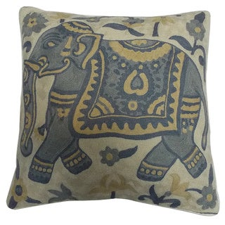 Elephant Crewel Embroidery Decorative Throw Pillow