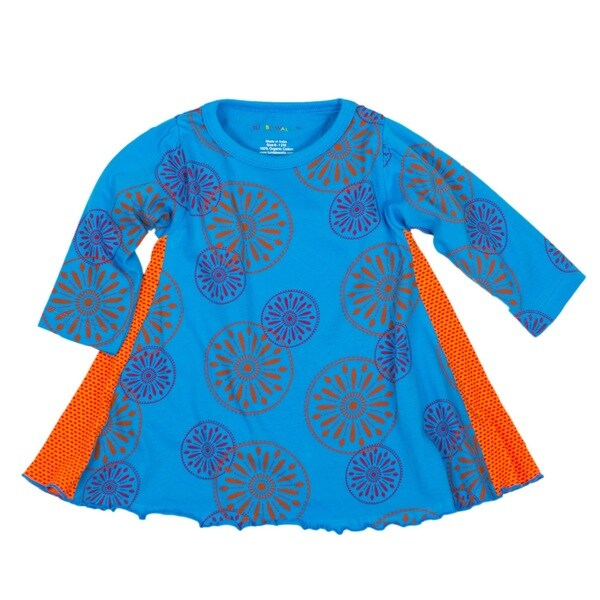 Tumblewalla Girls' Blue Pinwheels Organic Twirl Dress