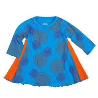 Tumblewalla Girls' Blue Pinwheels Organic Twirl Dress