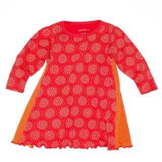 Tumblewalla Girls' Paprika Sunburst Organic Twirl Dress