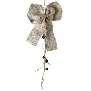 Sage & Co Fringed Burlap Bow with Bells