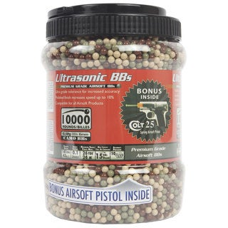 Ultrasonic .12-gram Camo BBs with Colt .25 Spring Pistol (Pack of 10,000 BBs)