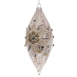 Gold Glass Jeweled Ornament (pack of 6)
