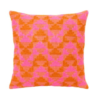 Mela Artisans Large Pink/ Orange Embroidered Pillow (India)